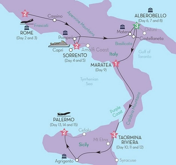 rome sicily tour 2019 itinerary map