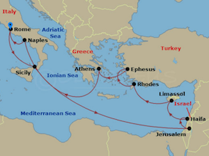 jewel of seas from rome holy land cruise itinerary map