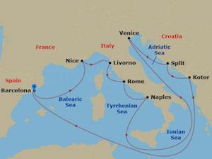 jewel seas barcelona cruise itinerary map
