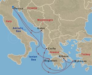 royal caribbean venice cruise map rhapsody sea