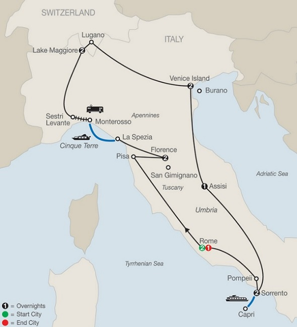 all italy tour itinerary map