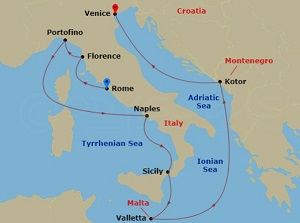 celebrity constellation cruise around italy map
