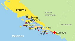 croatia cruise map itinerary