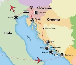 map dubrovnik dalmatian coast vencice tour