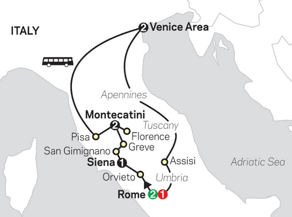 itinerary map italy tour rome florence venice
