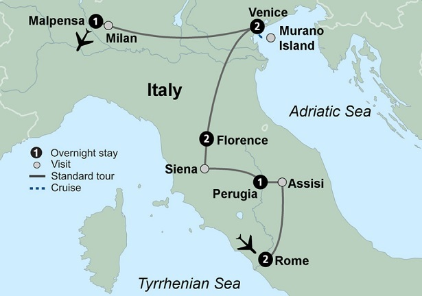 itinerary map italy tour package rome umbria tuscany florence venice milan