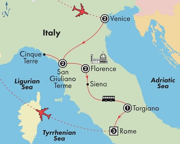 small group italy tour venice florence rome map