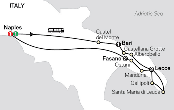 affordable southern italy tour itinerary map