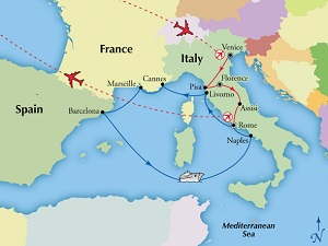 italy cruise tour western med itinerary map