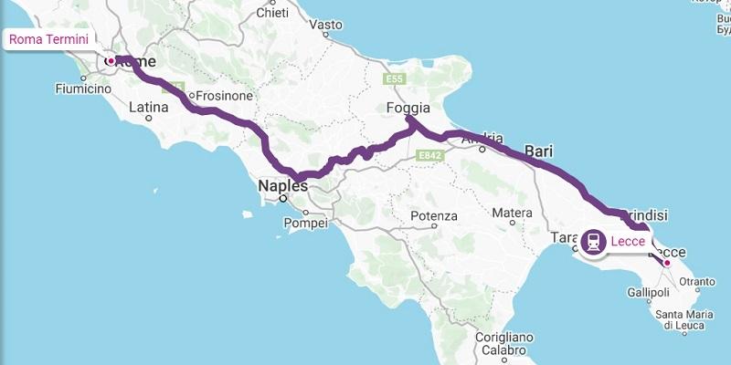 lecce to rome train route