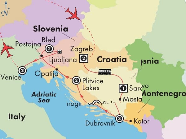 dubrovnik to Venice tour itinerary map
