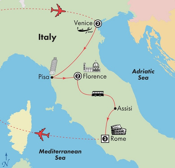 italy tours venice florence rome itinerary map
