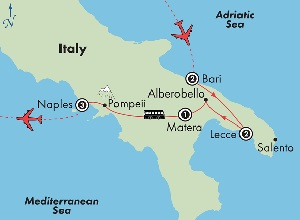southern italy tour map puglia to naples
