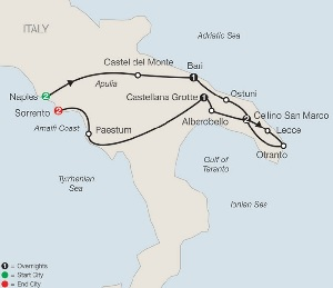 escorted italy tour map naples to sorrento
