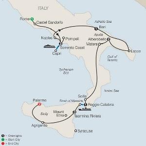 rome to sicily tour map including naples