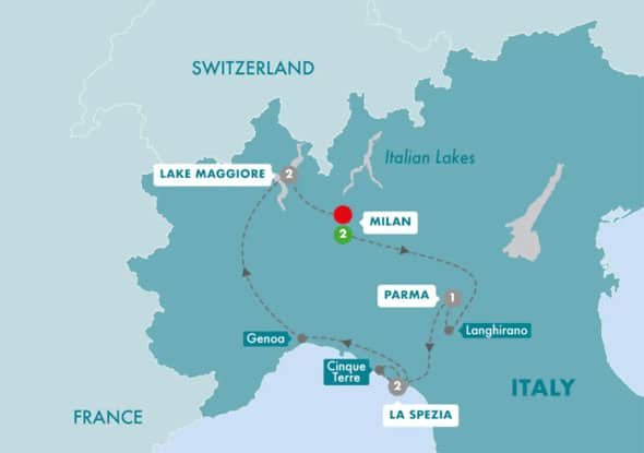 10 day northern italy tour with cinque terre itinerary map